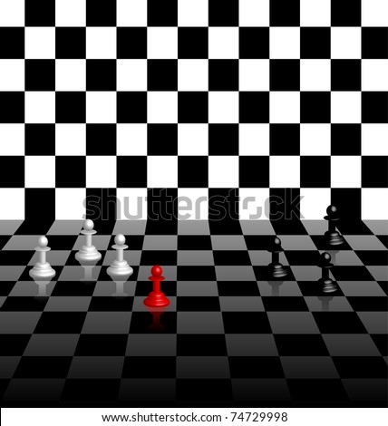 Chess board background with pawns, concept for being unique and standing out in a crowd. Use with or without the chess men. eps10 vector