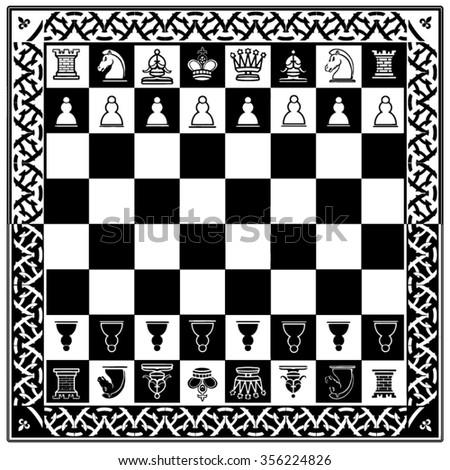 chess board vector  - stock vector