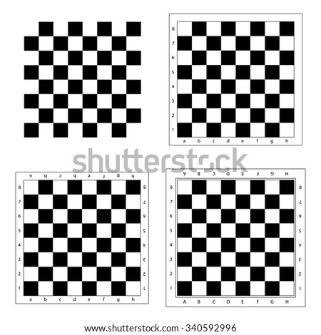 Chess board vector.  Chess board isolated. Modern chess board background. Empty chess board. Set chess boards. Black and white chess board. - stock vector