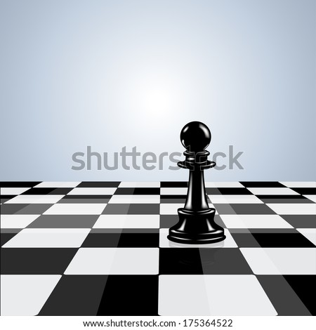 Chess board with black chess pawn - stock vector