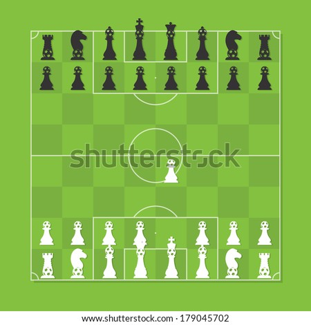 Chess Board with Chess Figure Stylized Soccer Tactic Table - stock vector