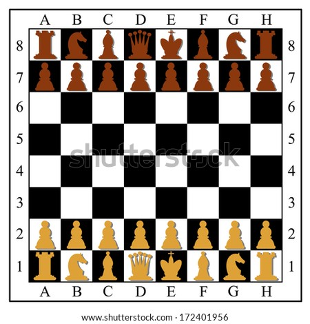 Chess board with chess pieces. Vector illustration. - stock vector