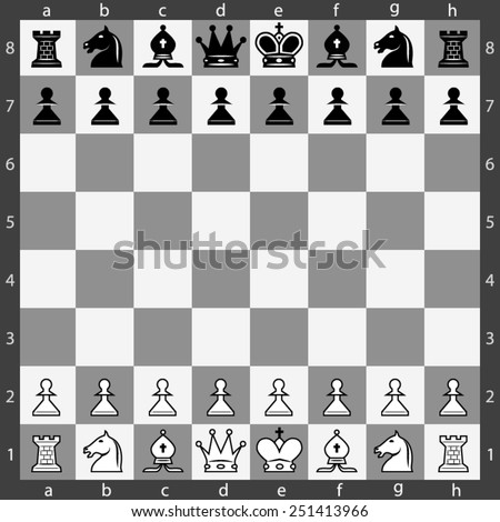 chess board with figures - stock vector