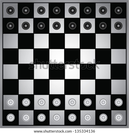 Chess board with pieces vector - stock vector
