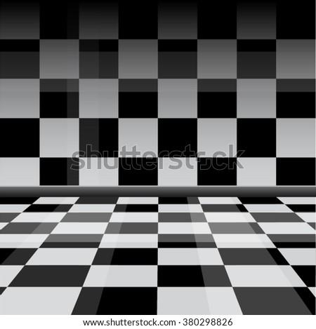Chess checkered black and white interior - stock vector