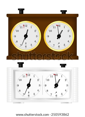 Chess clock - wooden and simple white - vector isolated - stock vector