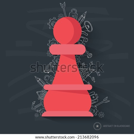 Chess design on blackboard background,clean vector - stock vector