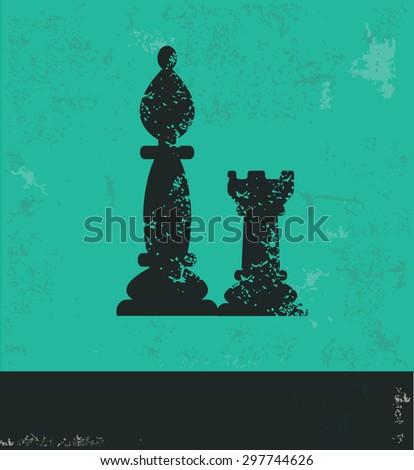 Chess design on green background,grunge vector - stock vector