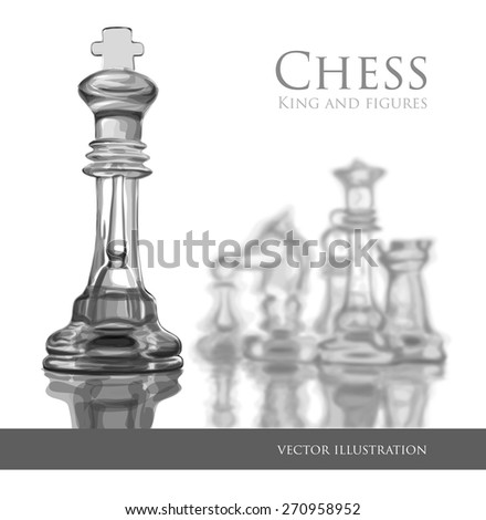 Chess figures, led by King on a white background. Vector illustration / Eps10 - stock vector