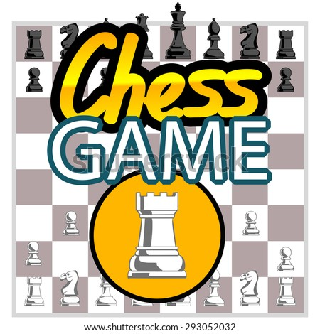 Chess game. all flat figureson on a board. sign chess game. Board game. game for phone - stock vector