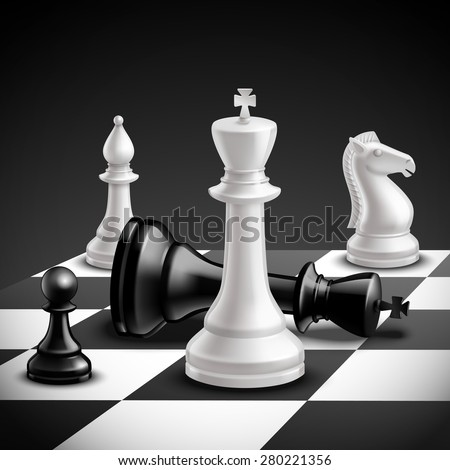 Chess game concept with realistic board and black and white pieces vector illustration - stock vector