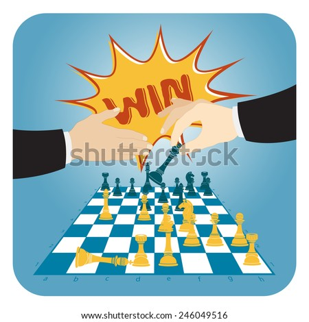 chess game victory - stock vector