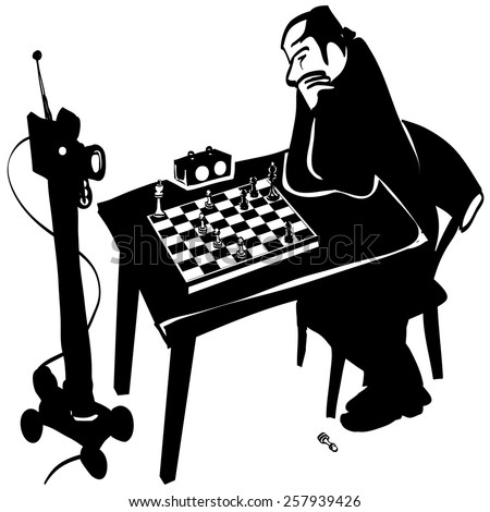 chess game with robot - stock vector