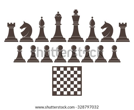 Chess. Icon set. King. Knight. Rook. Queen. Pawn. Bishop. Horse