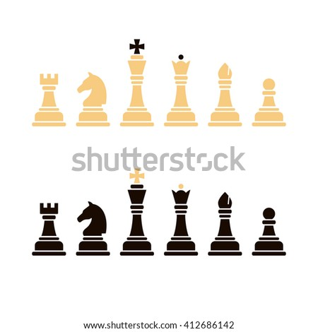 Chess icons. Set of chess in vector. King, queen, rook, bishop, pawn, knight. - stock vector