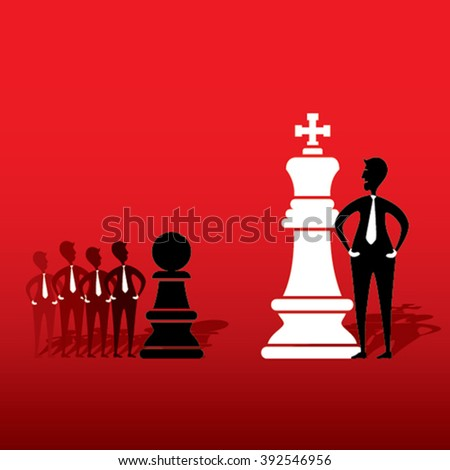 chess king and opposite team pawn game plan with each other design vector - stock vector
