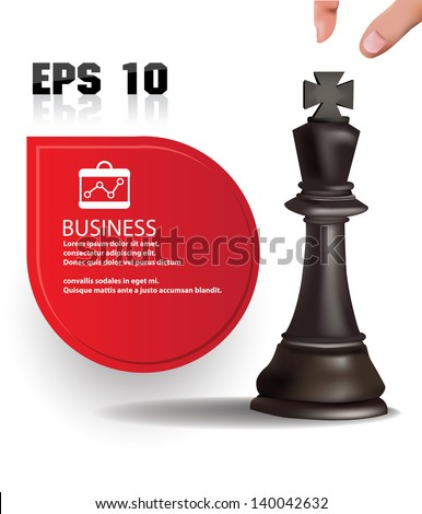 Chess king,business concept and blank banner for text,vector - stock vector