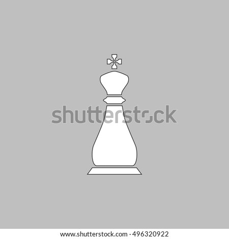 Chess king Simple line vector button. Thin line illustration icon. White outline symbol on grey background