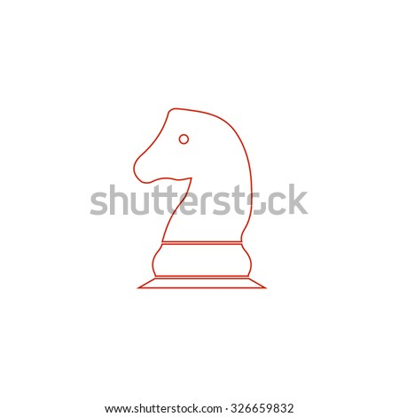Chess knight. Red outline vector pictogram on white background. Flat simple icon