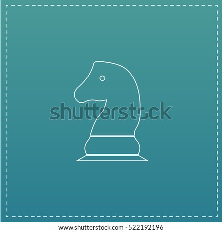 Chess knight Simple line vector button. Thin line illustration icon. White outline symbol on blue background