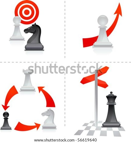 Chess metaphors - goals and choices - stock vector