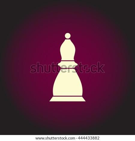 Chess officer. White vector icon on dark background. Flat pictogram - stock vector