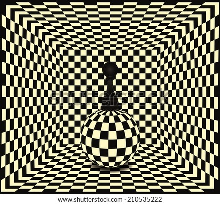 Chess pawn background, vector illustration - stock vector