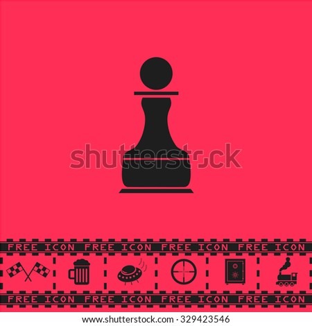 Chess Pawn. Black flat vector icon and bonus symbol - Racing flag, Beer mug, Ufo fly, Sniper sight, Safe, Train on pink background - stock vector
