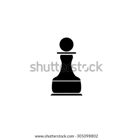 Chess Pawn. Black simple vector icon - stock vector