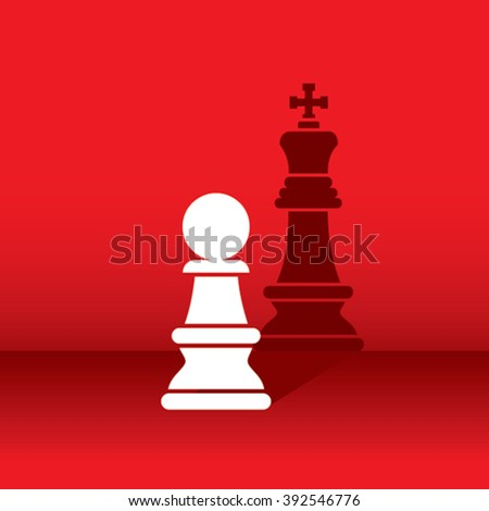 chess pawn dream become a king, shadow like king concept design vector - stock vector