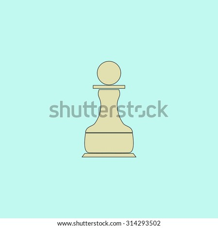 Chess Pawn. Flat simple line icon. Retro color modern vector illustration pictogram. Collection concept symbol for infographic, logo and project - stock vector