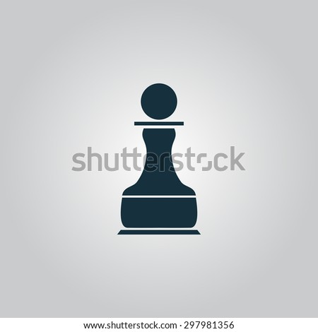 Chess Pawn. Flat web icon or sign isolated on grey background. Collection modern trend concept design style vector illustration symbol - stock vector
