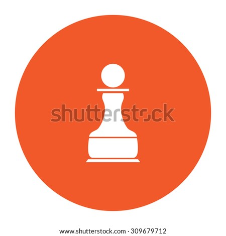 Chess Pawn. Flat white symbol in the orange circle. Vector illustration icon - stock vector