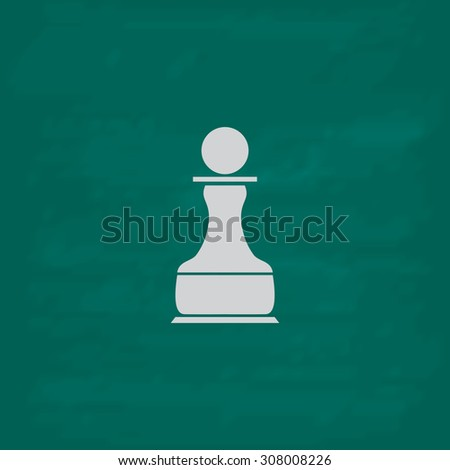 Chess Pawn. Icon. Imitation draw with white chalk on green chalkboard. Flat Pictogram and School board background. Vector illustration symbol - stock vector