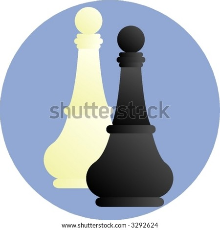 chess pawn pieces - stock vector