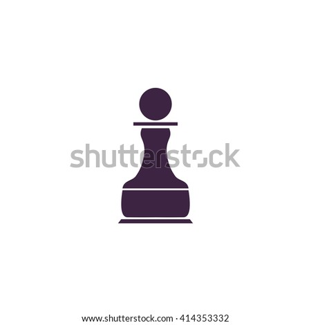 Chess Pawn Simple flat blue vector icon on white background - stock vector