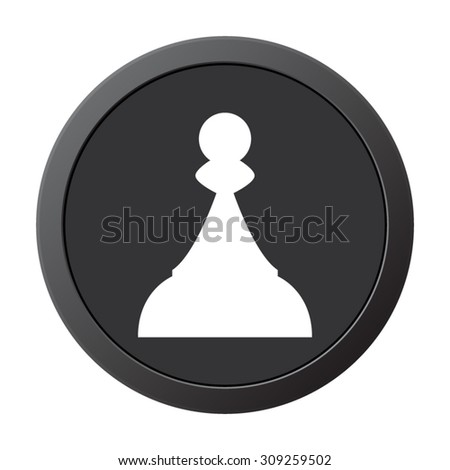 Chess Pawn - vector icon on a grey button - stock vector