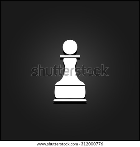 Chess Pawn. White flat simple vector icon with shadow on a black background - stock vector