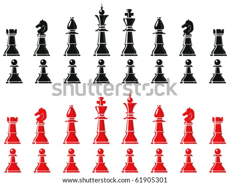 chess pieces - stock vector