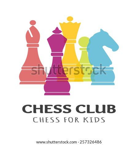 Chess pieces business sign & corporate identity template for Chess club or Chess school. Standard chess pieces vector icon set. Colorful chess vector illustration. Sample text. Editable.  - stock vector