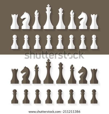 Chess pieces flat design style. Vector. - stock vector