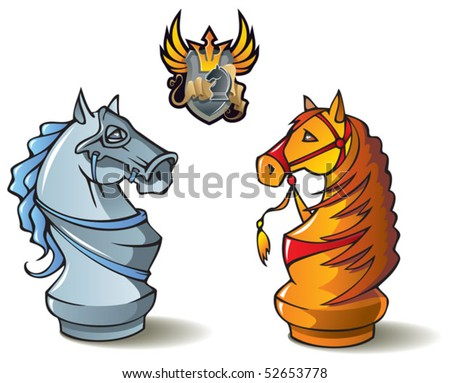 """Chess pieces series, black and white knights, Crusaders vs. Saracens, including bonus """"Chess Battle"""" heraldic emblem, vector illustration - stock vector"""