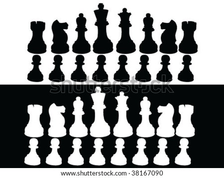 Chess pieces set A complete set of chess pieces - stock vector