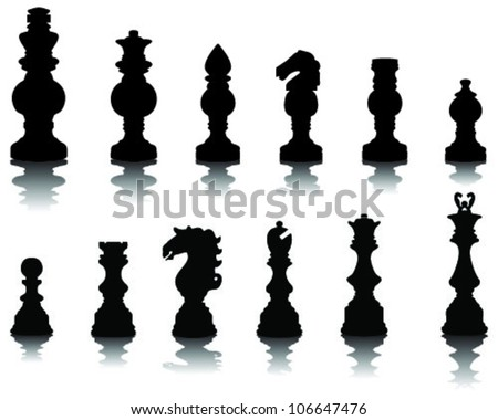 Chess pieces silhouette 2, vector - stock vector