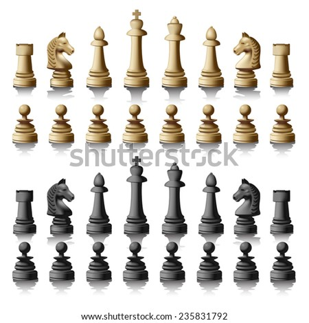 Chess pieces silhouettes isolated on white background. Vector illustration - stock vector