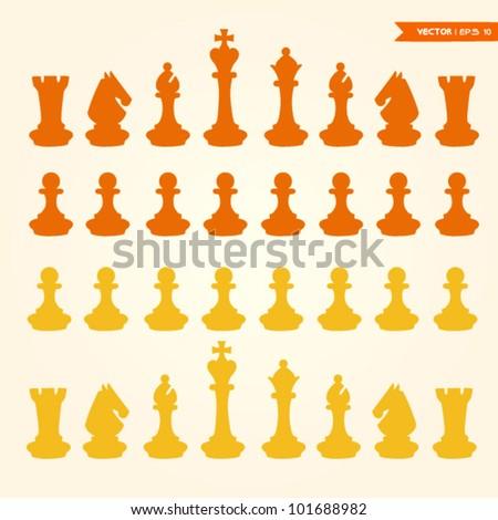 chess pieces vector - stock vector