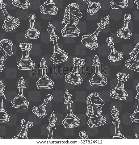 Chess Pieces Vector Seamless pattern. Hand drawn doodle king, queen, bishop, knight, rook, pawn and chess board, chess clock. - stock vector