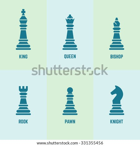Chess pieces with named vector silhouette icons (king, queen, bishop, rook, knight, pawn) - stock vector