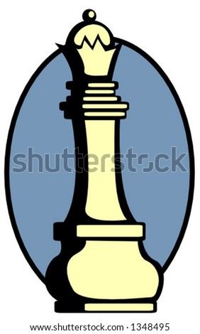 chess queen piece - stock vector