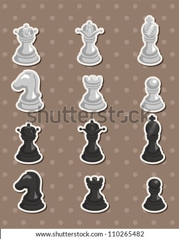 chess stickers - stock vector